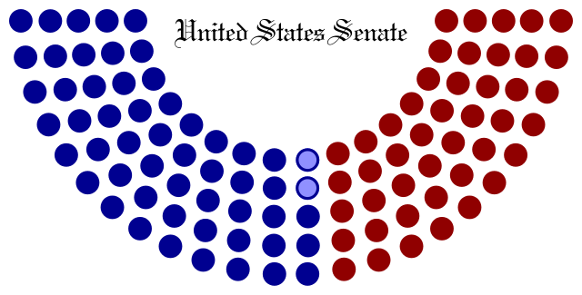 The Senate has the rare distinction of having 2 independents.  They are the slightly less blue circles in the middle. Only 2 independent voices representing an entire country...